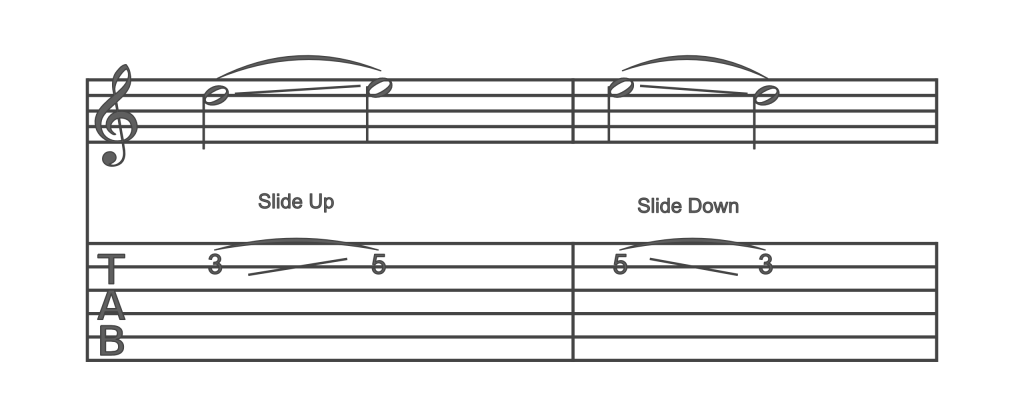 Guitar slide up and down